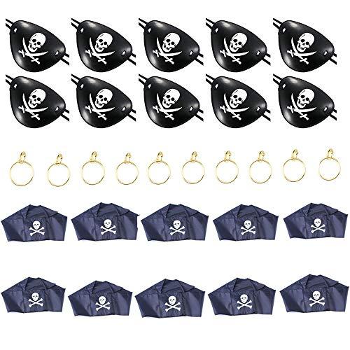appen,Kostüm Zubehör Sets Kunststoff Verstellbare Augenklappe Pirat Schal und Ohrring für Karneval, Fasching, Halloween und Ander Motto Partys 30 stücke (10x3) ()