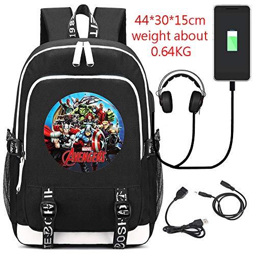 RGLIN Kinderrucksack Superheld Marvel Rucksack Computer Tasche Reisetasche Avengers 4 Black (Superhelden Marvel Weibliche)