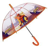 Transparent Marvel Spiderman Kids Umbrella - Spider Man Small Stick Umbrella for Boys - Windproof and Resistant Dome Brolly in Fiberglass - Orange Details - Automatic Opening - Diam 74 cm - Perletti