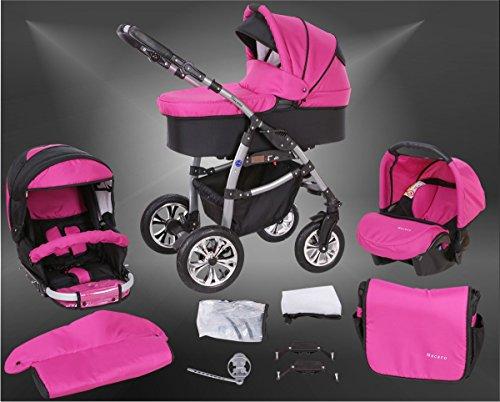 Milk Rock Baby Macano S Kinderwagen mit 3 Gestellfarben Safety-Set (Autositz & ISOFIX Basis, Regenschutz, Moskitonetz, Schwenkräder) MO31 Silver / Schwarz & Pink