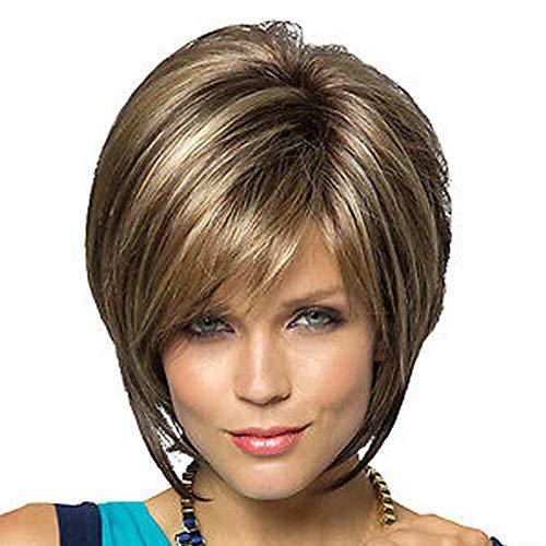 Synthetische Perücke Bobo Straight Style Bob Capless Perücken Ombre-Frisuren Pony Blondes Braun Mit synthetischem Haar Kurze Damenperücke Täglicher ()