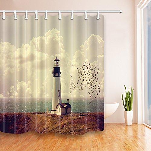 Dekor Schöner Strand Serie Grüner Duschvorhang Grün antibakteriell wasserdicht, 180 cm * 180 cm, inklusive Haken (Leuchtturm 02) ()