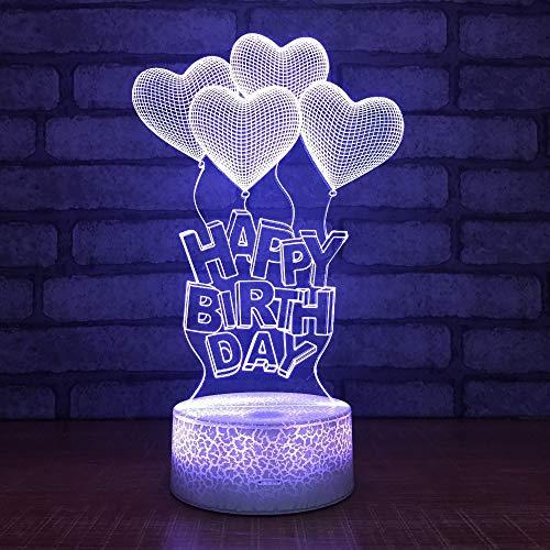 Xiujie Happy Birhtday Heart Balloon Shape 3D Led Night Light Acrilico Ottico 3D Illusion Desk Table Lamp Per I Bambini Regalo