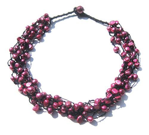 TreasureBay Halskette mit SWZ-Perlen, Metallic-Look, Barockperlen, mehrreihig, Lieferung in schönem Satinbeutel, Rosa (Metallic Perlen Halsketten)
