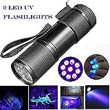 Sisit Lampe de poche ultra-violette UV. Détection de Blacklight 9 LED Torch. Mini lampe de 9 cm pour vérifier les notes, les cartes de crédit, les encres fluorescentes et la verrerie fissurée (Gris)