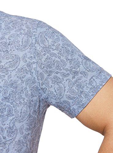oodji Ultra Uomo Camicia Slim Fit Stampata con Maniche Corte Blu (7023E)