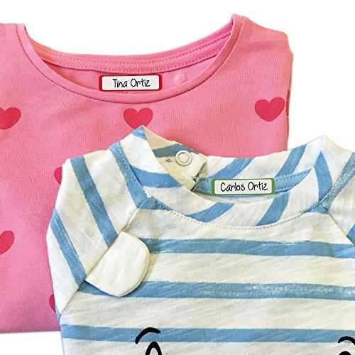 Etikids 40 Etichette termoadesive da STIRARE. Formati e colori vari, per contrassegnare indumenti, vestiti dei bambini a scuola ed asilo. (COLORS) - 7
