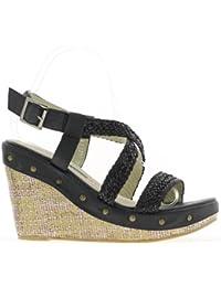 Sandales compensées noires à talons de 11 cm et plateau de 4 cm