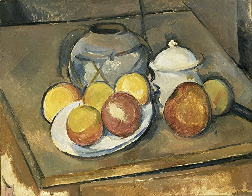 Spiffing Prints Paul Cezanne - Straw-Trimmed Vase Sugar Bowl and Apples - Large - Matte - Brown Frame Brown Sugar Bowl