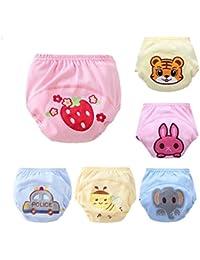 CuteOn paquete de 6 unidades Beb¨¦ Ni?ito Ni?a Pantalones Boy Pee entrenamiento insignificante del panal del pa?al del Conjunto