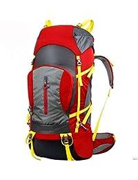 GOUQIN Outdoor Mochila Moda Clásica Escalada Exterior Un Viaje Mochilero Camping 70L Paquete De Hombros, Rojo