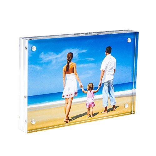 Marco de Fotos 15x20cm ,Acrilico Transparente Marcos de Escritorio con Magnético Y Marco de Fotos Doble Cara(12+12 mm de espesor) por NIUBEE