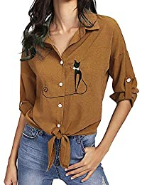 4c1acffd6a0f76 Camicie da Donna, Longra Camicia a Maniche Lunghe in Chiffon Stampa Kitty  Knot Camicia a Bottoni T-Shirt Manica Lunga Casual Blouse…