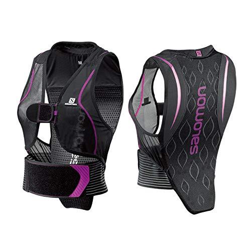 Salomon Damen Flexcell Women Ski-Rückenprotektor, Verstellbar, MotionFit-Technologie, Atmungsaktives Mesh-Material, schwarz/violett, Größe XS, L39139200