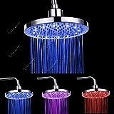 8 inch Chrome Finish LED Temperature Controlled Rainfall Shower Sprayer LED Rain Shower Head