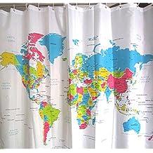 Cuadrado Impermeable Poliéster Baño Ducha Cortinas Incluir 12 Manos (Mapa del Mundo)