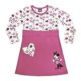 Mädchen-Kleid Minnie Mouse in GRÖSSE 80, 86, 92, 98, 104, 110 116, LANG-ARM, Retro-Muster in rosa, leichtes Sommer-Kleid, ideal als Strand-Kleid, Freizeit-Kleid oder Fest-Kleid Size 86