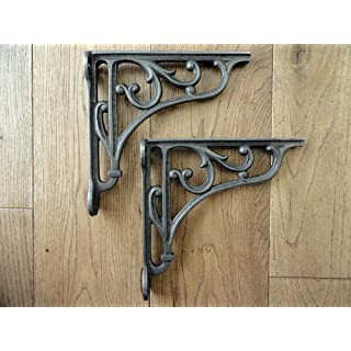 A PAIR OF SMALL CLASSIC VICTORIAN SCROLL SHELF BRACKETS 6 INCH BRACKET CAST IRON by knobs and knockers
