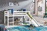 Kinderbett Hochbett mit Rutsche TIMO ERNA Leiter Spielbett Kiefer Massiv Weiß oder Natur (Weiß)