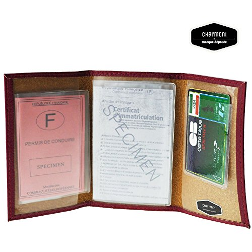 Charmoni-KFZ-Papiere 3-teilig aus Rindsleder Hugo NEU