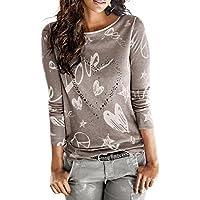 Yvelands Camisa Slim Fit de Manga Larga con Letras Impresas Blusa Informal Tops Sueltos de algodón Camiseta