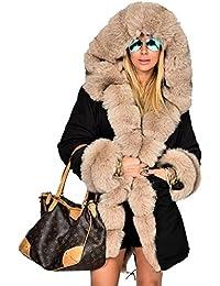 Roiii Mujer abrigo de invierno Parka de pelo chaqueta acolchada larga con capucha Abrigo