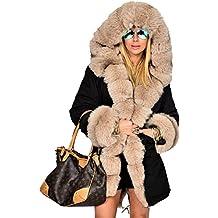 Roiii Frauen-Winter-Pullover Mantel-Pelz-Parka Casual Luxury-Mantel-Jacke Plus Size 44-48-54