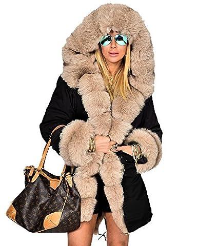 Roiii femmes manteau d'hiver à capuchon de fourrure faux parka