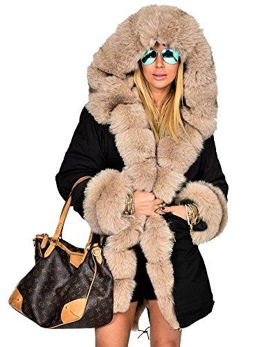 Roiii Frauen-Winter-Pullover Mantel-Pelz-Parka Casual Luxury-Mantel-Jacke Plus Size 44-48-54 (42/44, Schwarz1) (Trenchcoats Für Frauen Auf Verkauf)