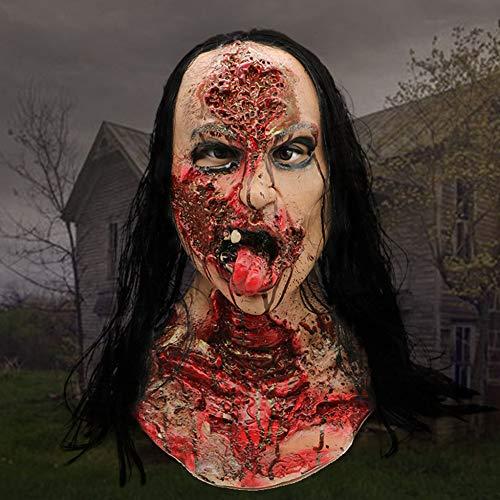 Kostüm Für Erwachsene Beängstigend - WZYWSJ Halloween Maske Latex Realistische Perücke Weiblicher Geist Schmelzen Gesicht Erwachsenen Latex Kostüm Beängstigend