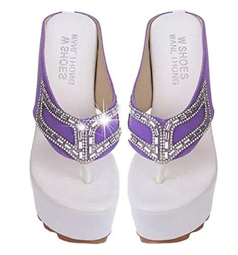 Fortuning's JDS pantoufles plateforme talon compensé avec style strass pour les dames Violet