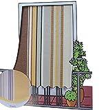 Tenda da sole per esterno in tessuto multirighe con anelli per balcone, terrazzo, casa - Cm 150x250 - Marrone