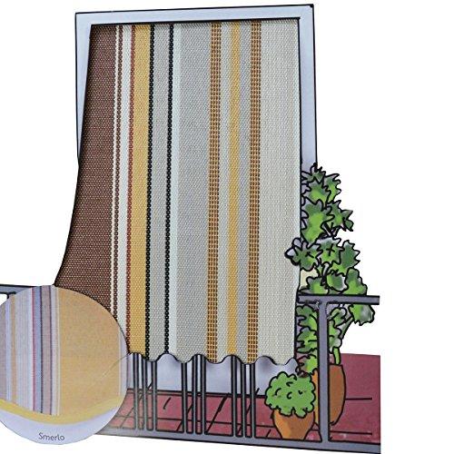Galleria fotografica Coppia tende da sole per esterno in tessuto multirighe con anelli per balcone, terrazzo, casa - Cm 150x250 - Marrone