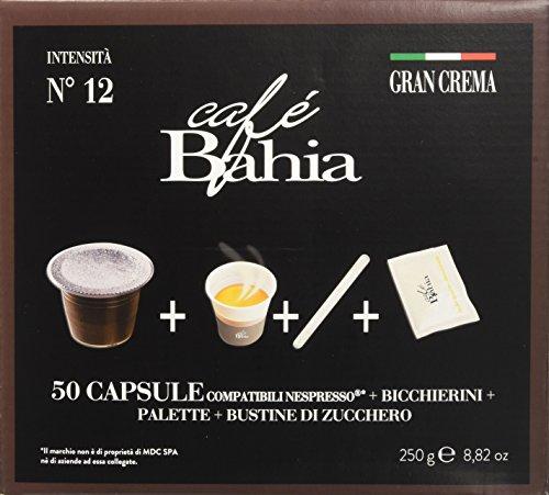 Café bahia, 200 capsule compatibili nespresso e kit - gran crema intensità 12 con retrogusto di cioccolato - 1000 g