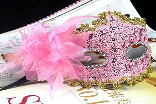 EQLEF® Spitze Kristall Cosplay Roman griechischen venezianischen Halloween Costume Party Maskerade Maske (rosa-1)