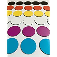 30Multicolor Imanes (5negros Imanes/5imanes rojas/amarillas 5imanes/5blanca Imanes/5Lila Imanes/5azules Imanes)/2,5cm de diámetro/por ejemplo para presentaciones, proyecto trabajo, clases..