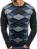 BOLF Herren Pullover Sweatshirt mit Rauten-Motiv Rundhalsausschnitt BY ALLES 1636 Schwarzgrau XXL [5E5]