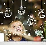 Beetop Fensterbilder Statisch Haftende PVC-Sticker Weihnachten Fensterdeko Aufkleber Wandtattoo [Wiederverwendbar] Mit Schneekristallen Und Schneesternen (Kugel)