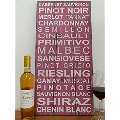 Transomnia Wooden Sign -Wine Grapes Sign. by Transomnia