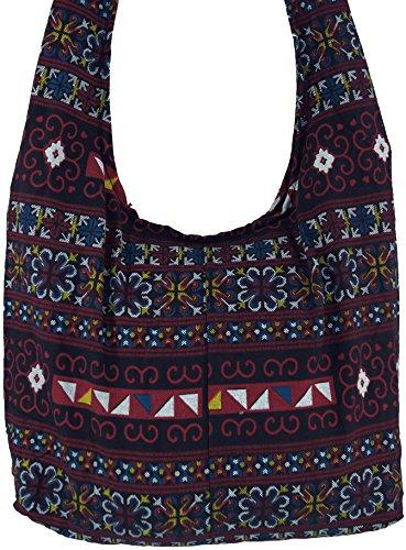 Guru-shop Sadhu Bag, Tracolla, Hippie Bag Chiang Ma - Bianco / Rosso, Uomo / Donna, Cotone, 30x42 Cm, Borsa In Tessuto Colorato Blu Navy