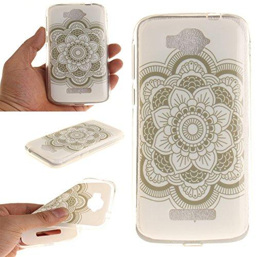 Anlike TPU Schutzhülle für Alcatel One Touch Pop C7, Handy Hülle / Handytasche / Silikon Hülle Case / Schlank Flexibel Handy Tasche Cover für Alcatel One Touch Pop C7 - Weiße Blume (Cover 9630)