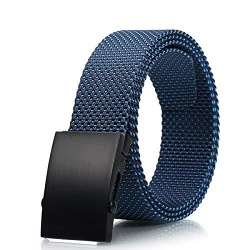 TGJYNLES Herrengürtel Für Frauen Square Metal Slider Buckle Gürtel Für Männer Military Tactical Gürtel Für Frauen Unisex, Blau -