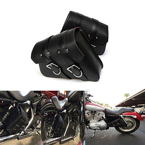 Motorrad Tasche Universal Wasserdicht PU Leder Satteltaschen Seitentasche Hängesack für Motorrad Elektrofahrzeug Schwarz, 2 Stück
