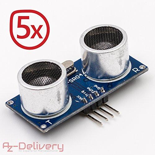 AZDelivery 5x HC-SR04 Ultraschall Modul Entfernungsmesser Sensor für Raspberry Pi und Arduino (5 Stück)