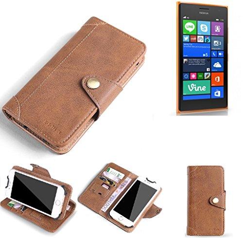 K-S-Trade Hülle für Nokia Lumia 730 Dual SIM Schutz Hülle Tasche Handyhülle Schutzhülle Handytasche Wallet case Flipcase Cover Kunstleder Braun