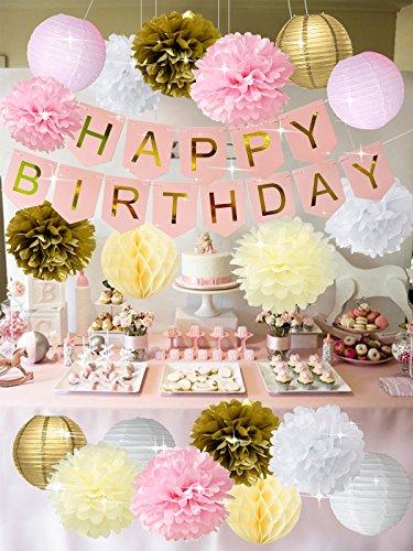 Rosa Gold Alles Gute zum Geburtstag Geburtstag Dekorationen Alles Gute zum Geburtstag Banner mit Tissue Pom Blume Papierlaternen Creme Honeycomb Balls Ersten Geburtstag Dekorationen / Mädchen Baby Sho (Shos Mädchen)
