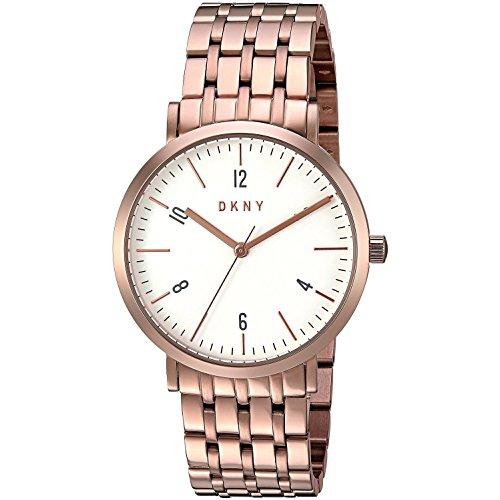 DKNY Women's 36mm Rose Gold-Tone Steel Bracelet & Case Quartz White Dial Analog Watch NY2504