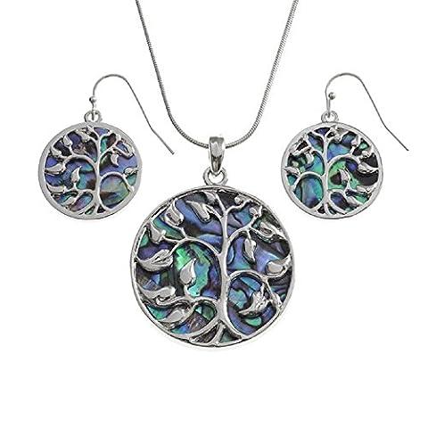 BellaMira Abalone Paua Shell Tree of Life Necklace & Earrings Set