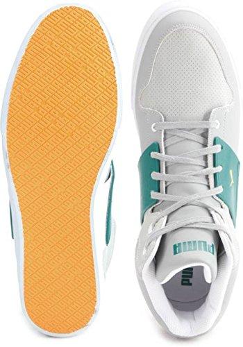 1774332c04b442 ... Puma Unisex El Ace 2 Mid PN II DP Limestone Grey and Blue Glass Sneakers  ...