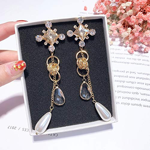XIAOXUQ Fashion Square Strass runden Kreis Kette Ohrringe Lange wassertropfen Perle kristall Frauen quaste schmuck